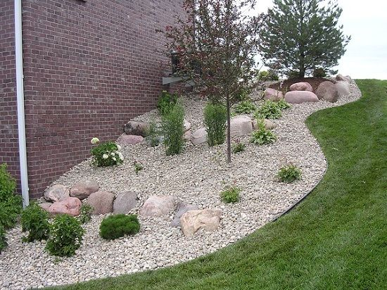 Landscaping With Rocks And Pebbles : Ideas landscape edging river pebbles rocks wood mulch forward
