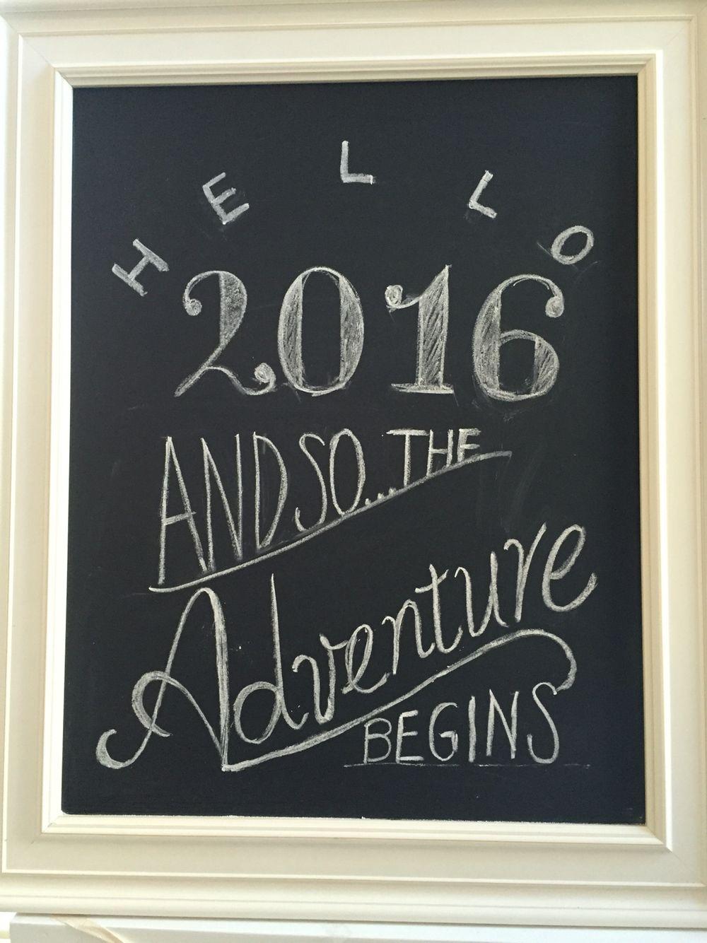New Year's chalk board