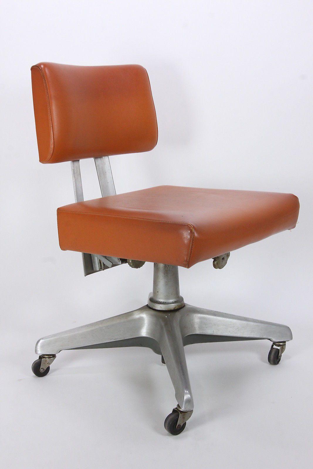 good form mid century modern adjustable orange office chair aluminum 31 43