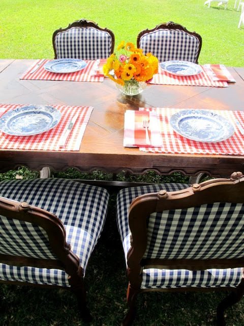 Blue and white dishes on red gingham check with navy white check. Patriotism!