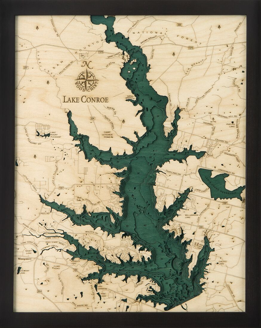 lake conroe texas map Bathymetric Map Lake Conroe Texas Lake Art Lake Map Map Art lake conroe texas map