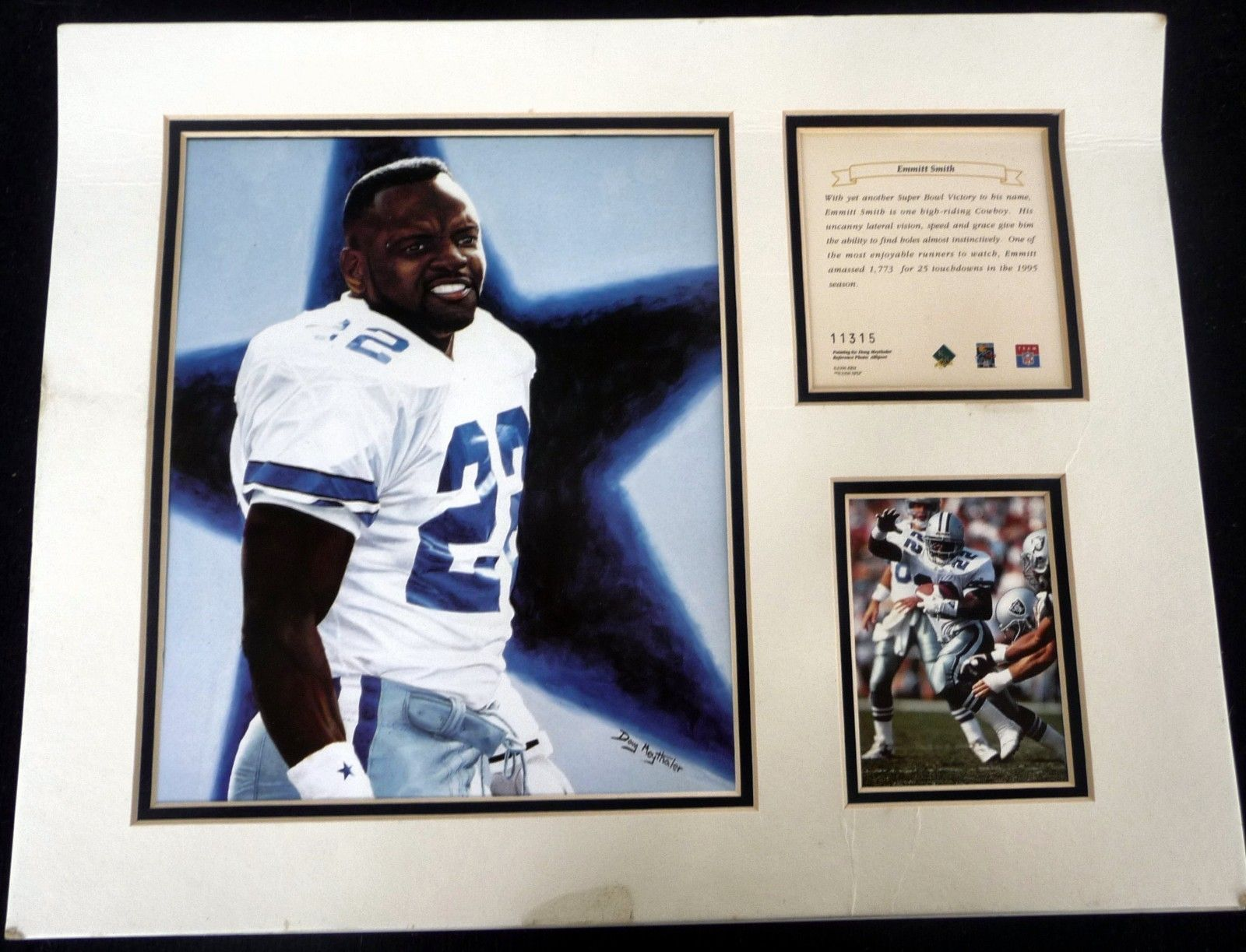 1995 EMMITT SMITH DALLAS COWBOYS Doug Meythaler Lithograph Print ...