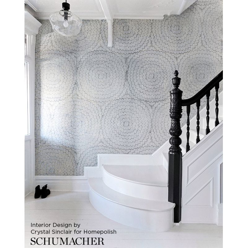 5006071 Feather Bloom, Two Blues Schumacher Wallpaper