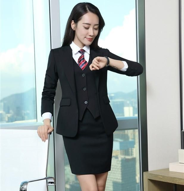 173c3e585 Formal Black Blazer Women Business Suits with Skirt and Jacket + Waistcoat  Sets Elegant Ladies Work Wear Suits