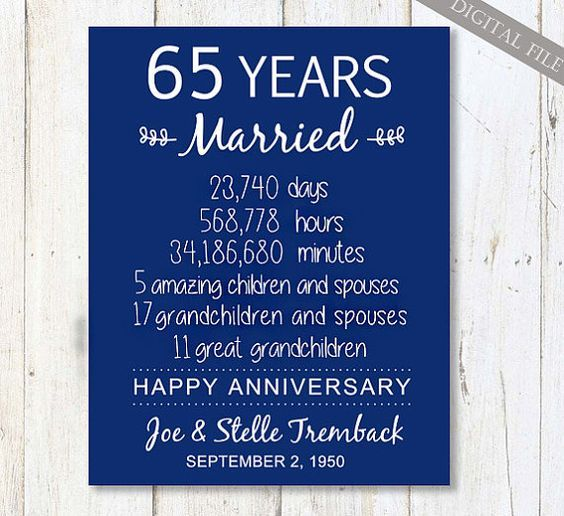 65th Wedding Anniversary Gift For Parents 65 Years Wedding Anniversa Anniversary Gifts For Parents 65th Wedding Anniversary Diamond Wedding Anniversary Gifts