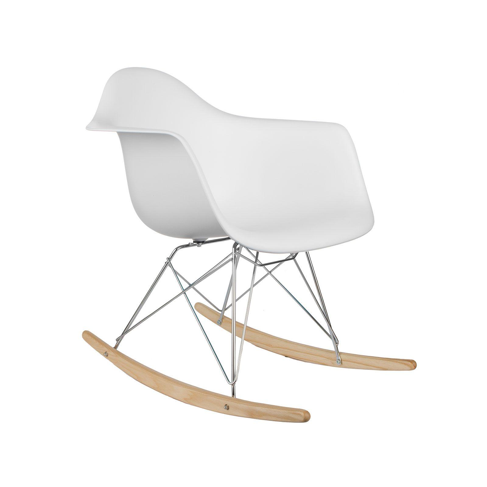 Modern Ash Wood Rocker In White | Dotandbo