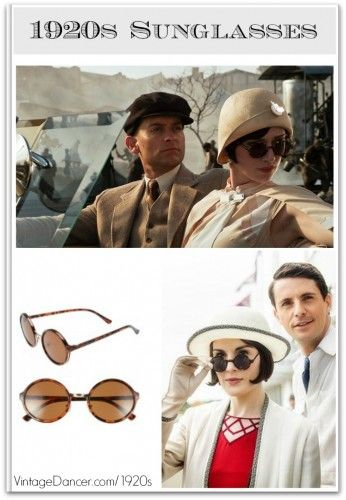dd89befde 1920s women's sunglasses 1920s sunglasses as seen in Great Gatsby and  Downton Abbey. Shop 1920s style round frame sunglasses at VintageDancer.com