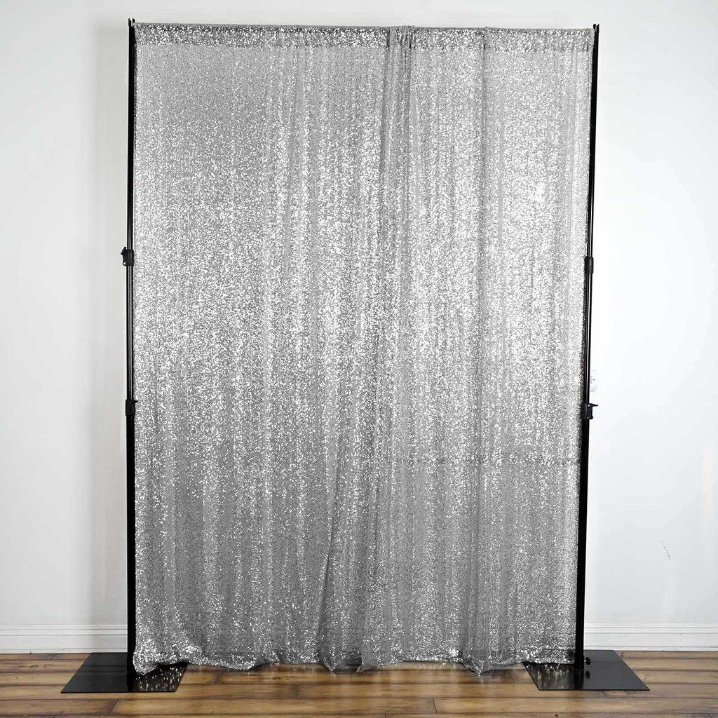 2 Pack 9ft Silver Sequin Backdrops Curtain Panel With Rod