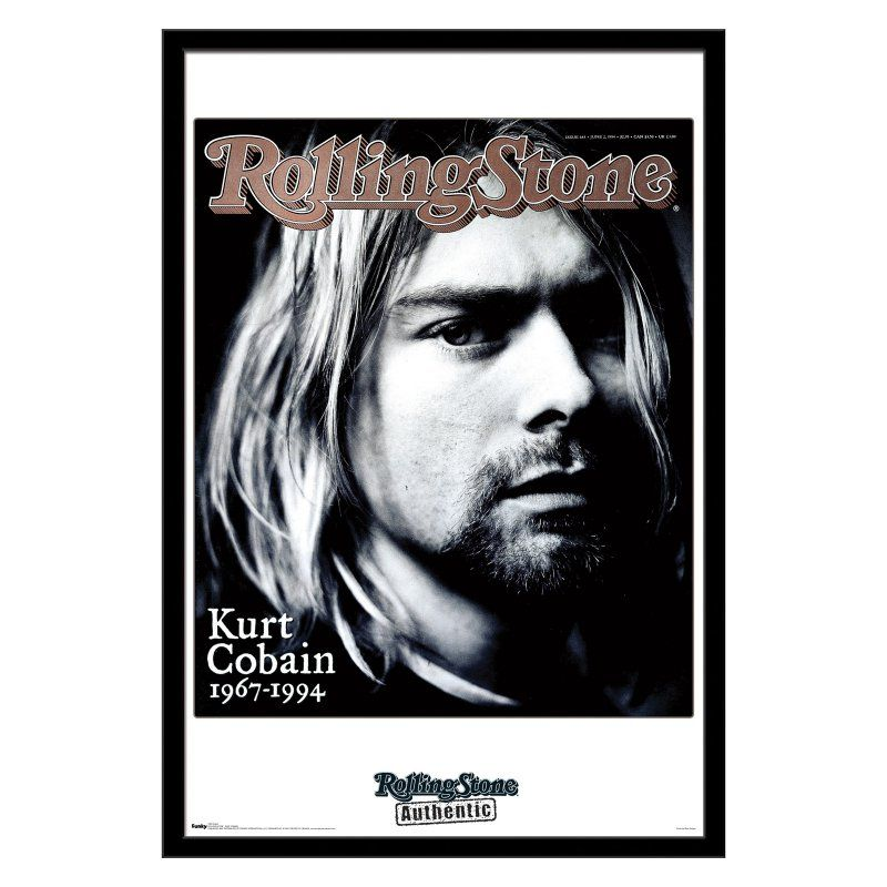 Trends International Rolling Stone - Kurt Cobain Wall Poster - 22W x 34H in. - FR9963BLK22X34