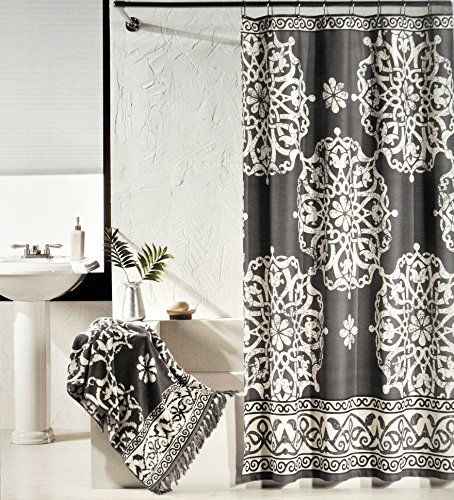 Tahari Luxury Cotton Shower Curtain Charcoal Gray And Ivory White Large Scroll Medallion