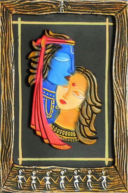Radha Krishna Wall Hanging Clay Wall Art Indian Folk Art Indian Art Paintings