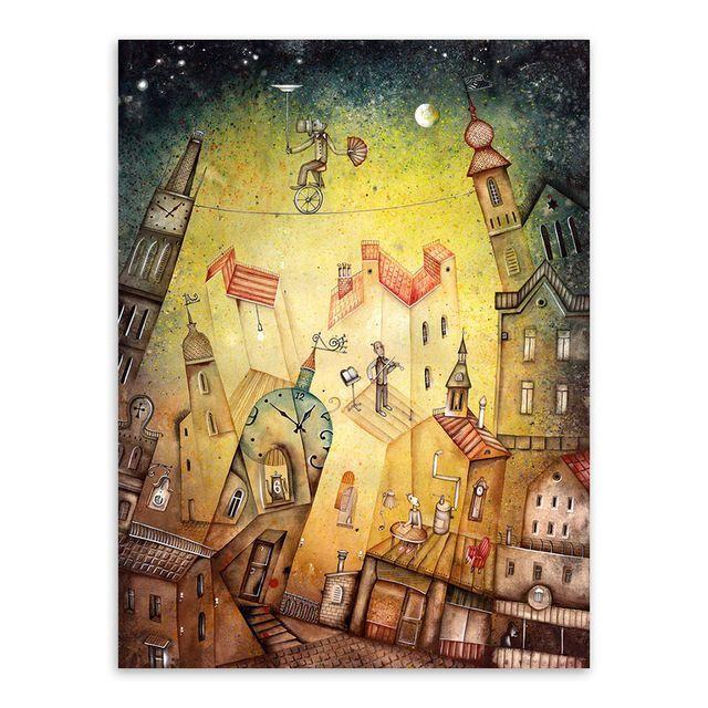 Vintage Retro Fantasy City Dream Boat Star A4 Poster Print Abstract ...