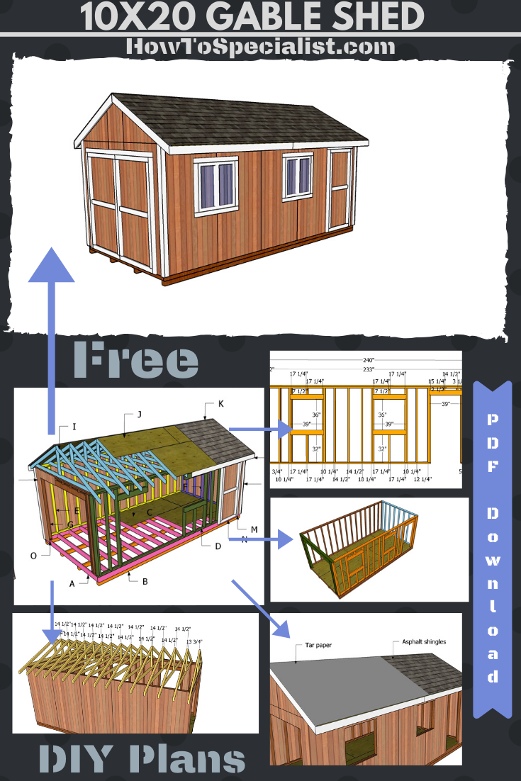 10x20 Gable Shed Plans Free Pdf Download Howtospecialist How To Build Step By Step Diy Plans Shed Plans 10x20 Shed Shed