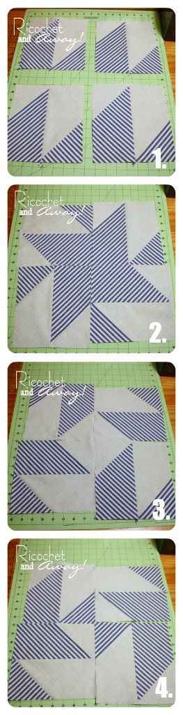 Ricochet and Away!: Half Square Triangles (plus more!) DIY. Clever tutorial for easy blocks using HST