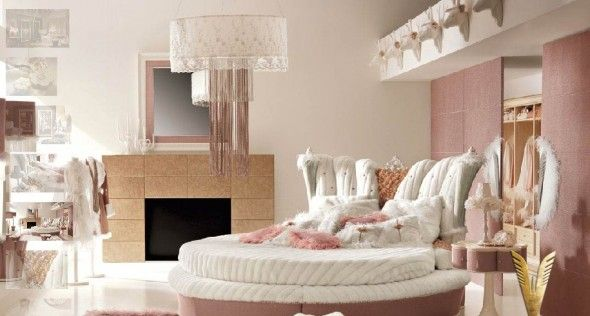 Luxurious-White-and-Pink-Interior-Girls-Bedroom-Design-with-Round ...