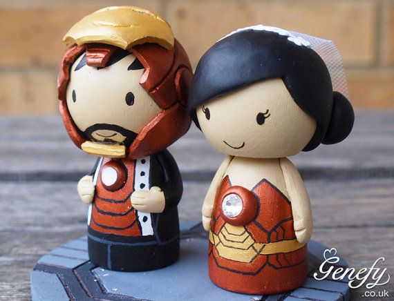 Cute Superhero Wedding Cake Topper Ironman And Ironwoman With Crystal Reactor On Etsy 175 95