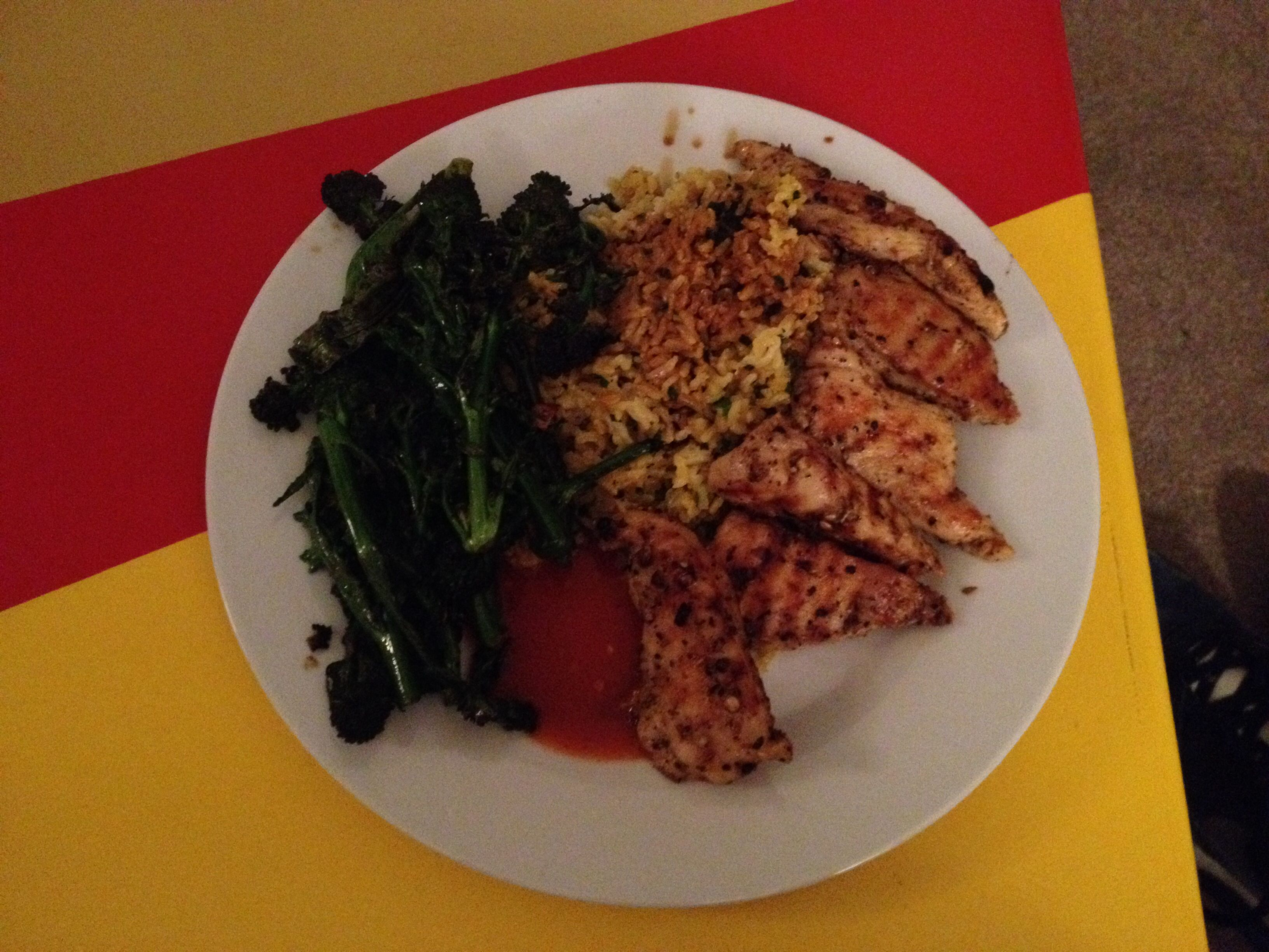Coconut/turmeric/herby brown rice. Griddled chicken breast. Griddled purple sprouting broccoli.