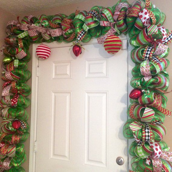 Deck Your Halls With This Red And Green Christmas Garland And Handmade Door Swag From All Me Christmas Mantel Decorations Whimsical Christmas Christmas Garland
