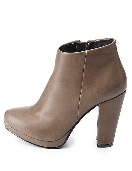 Chunky Heel Ankle Booties: Charlotte Russe