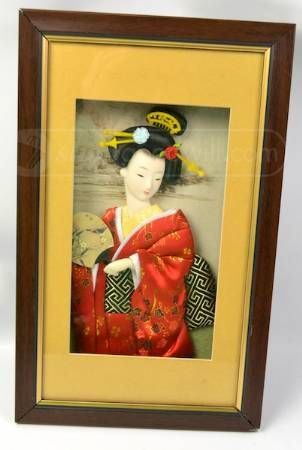 Asian Lady Red Kimono Bias Sculpture Wall Decor | Art - Women ...