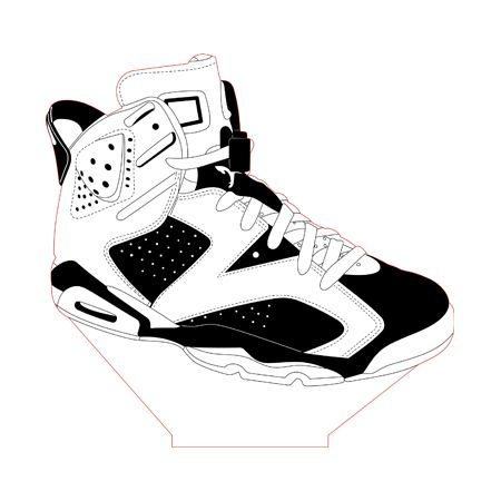 Air Jordan 6 Sneaker LED lamp vector file for CNC - 3bee-studio