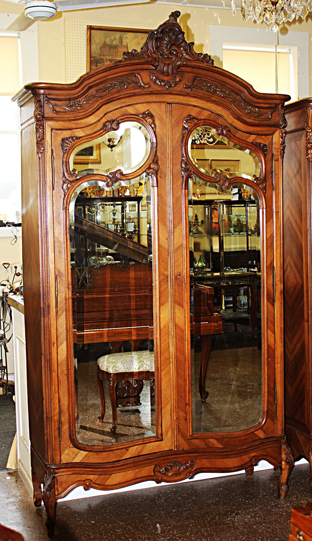 Furniture Antiques Louis Xv Style Vintage French Carved 5 Door Armoire Wardrobe Factory Direct Selling Price