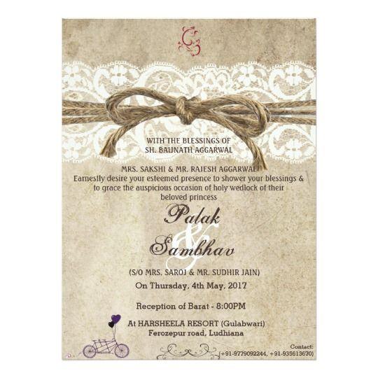 Vintage Elegance Twine On Lace Wedding Invitation Zazzle Co Uk Lace Wedding Invitations Vintage Wedding Theme Wedding Invitations