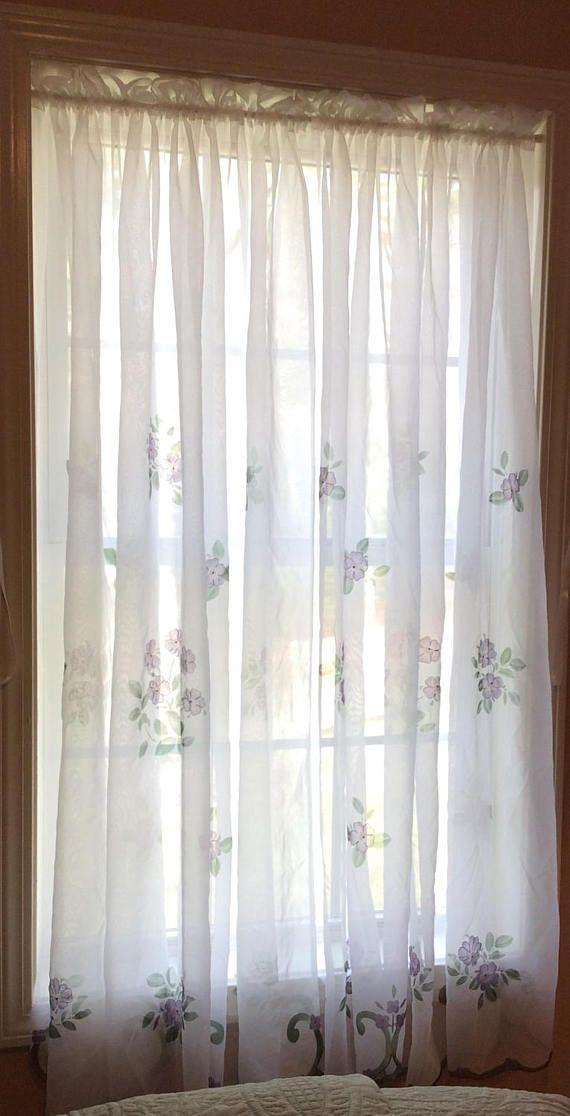 White sheer curtains with purple flower design 60 x 62 white one pair of pretty white sheer curtains with purple flower mightylinksfo