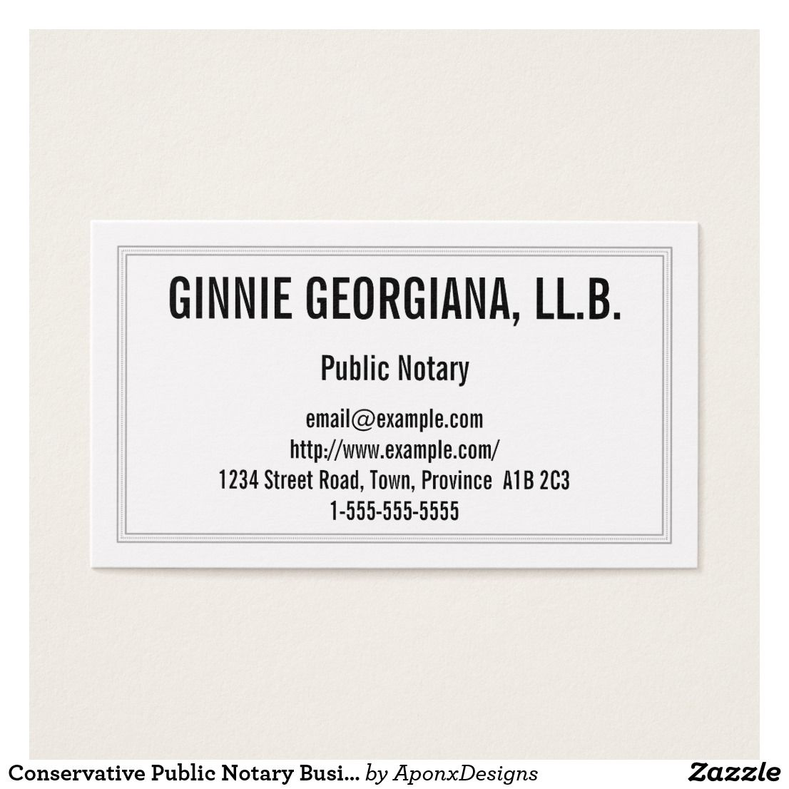 Conservative Public Notary Business Card | Customizable Business ...