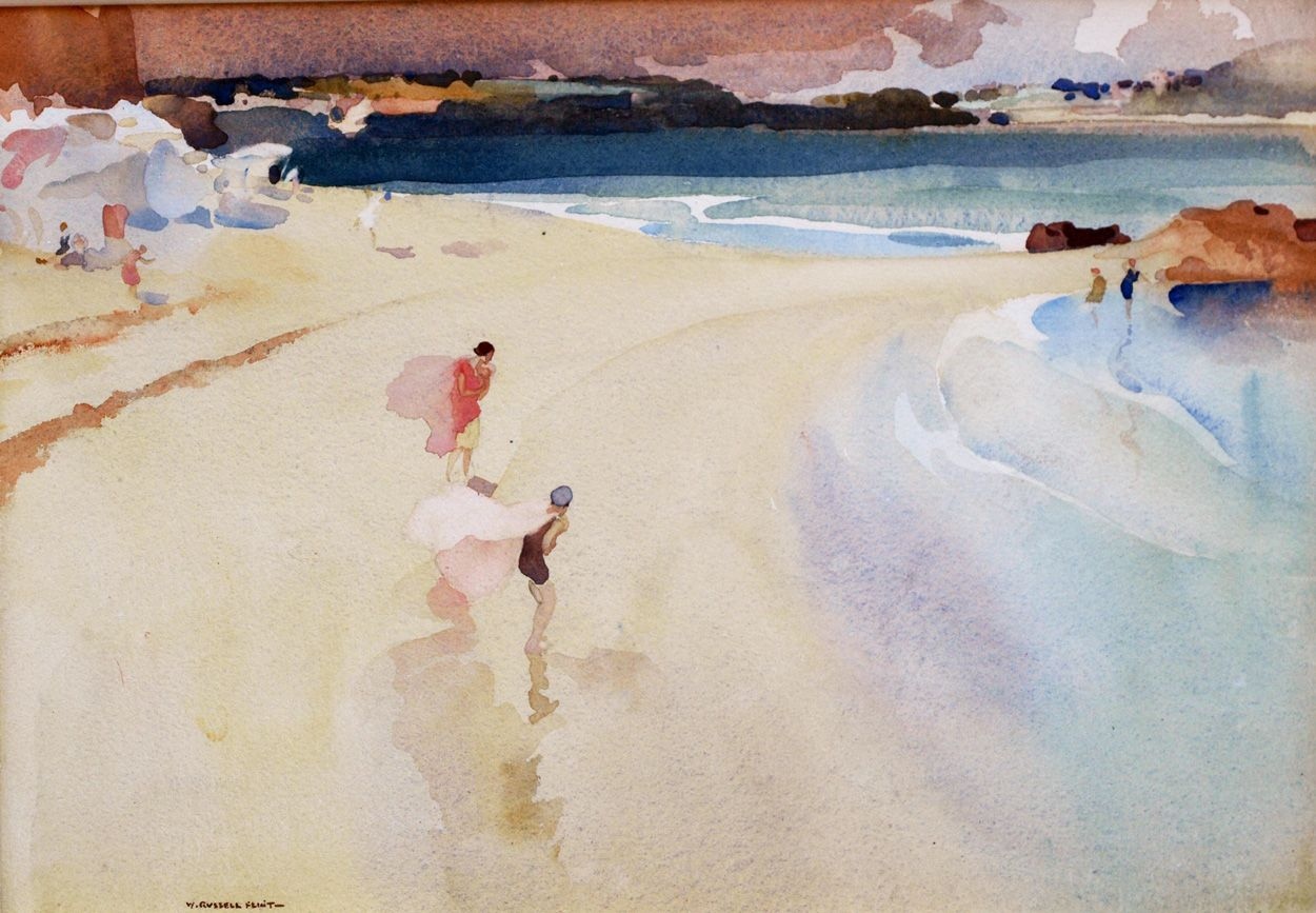 Sir William Russell Flint William Russell Beach Watercolor