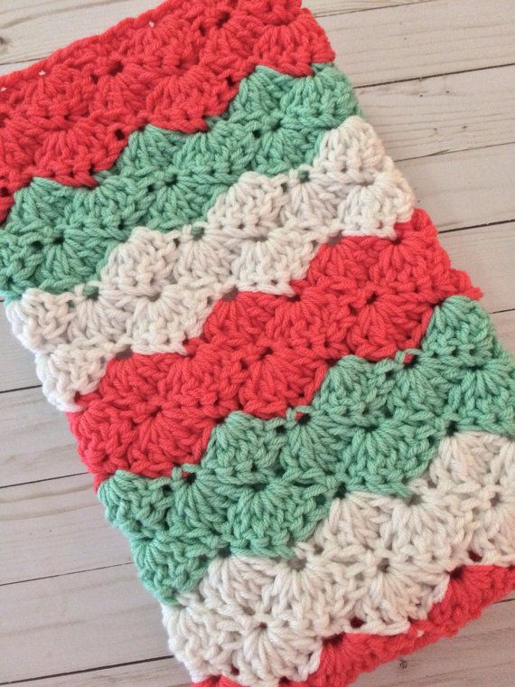 Crochet baby girl blanket coral mint and white coral by designbyAW ...