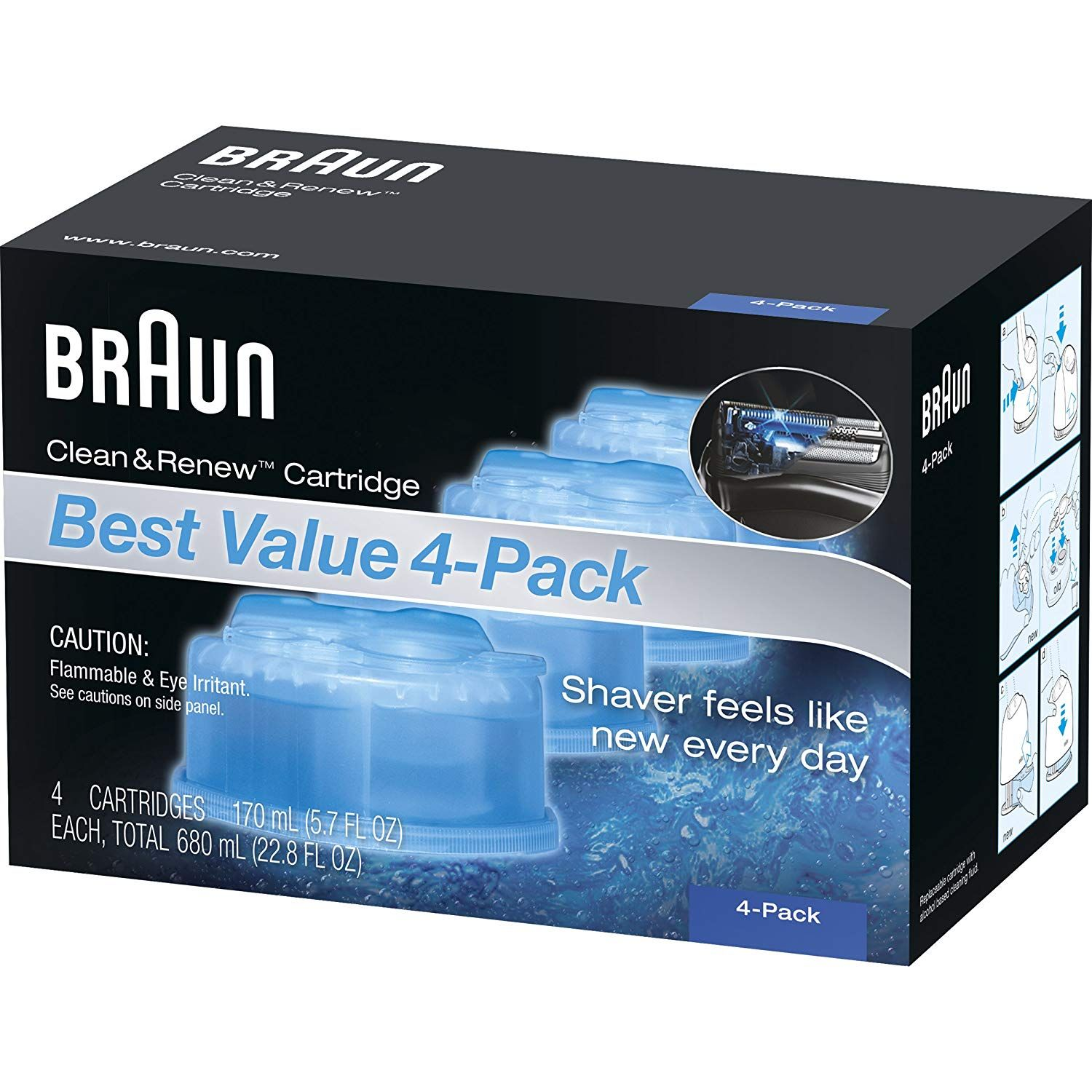 Amazon Com Braun Clean Renew Refill Cartridges Ccr 4 Count Packaging May Vary Beauty Braun Clean And Renew Cartridge Refilling Cleaning