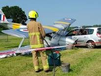 Plane and car collide