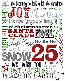 Christmas Subway Art Free Printable.Free Holiday Christmas Printables Holiday Jewelry Decor