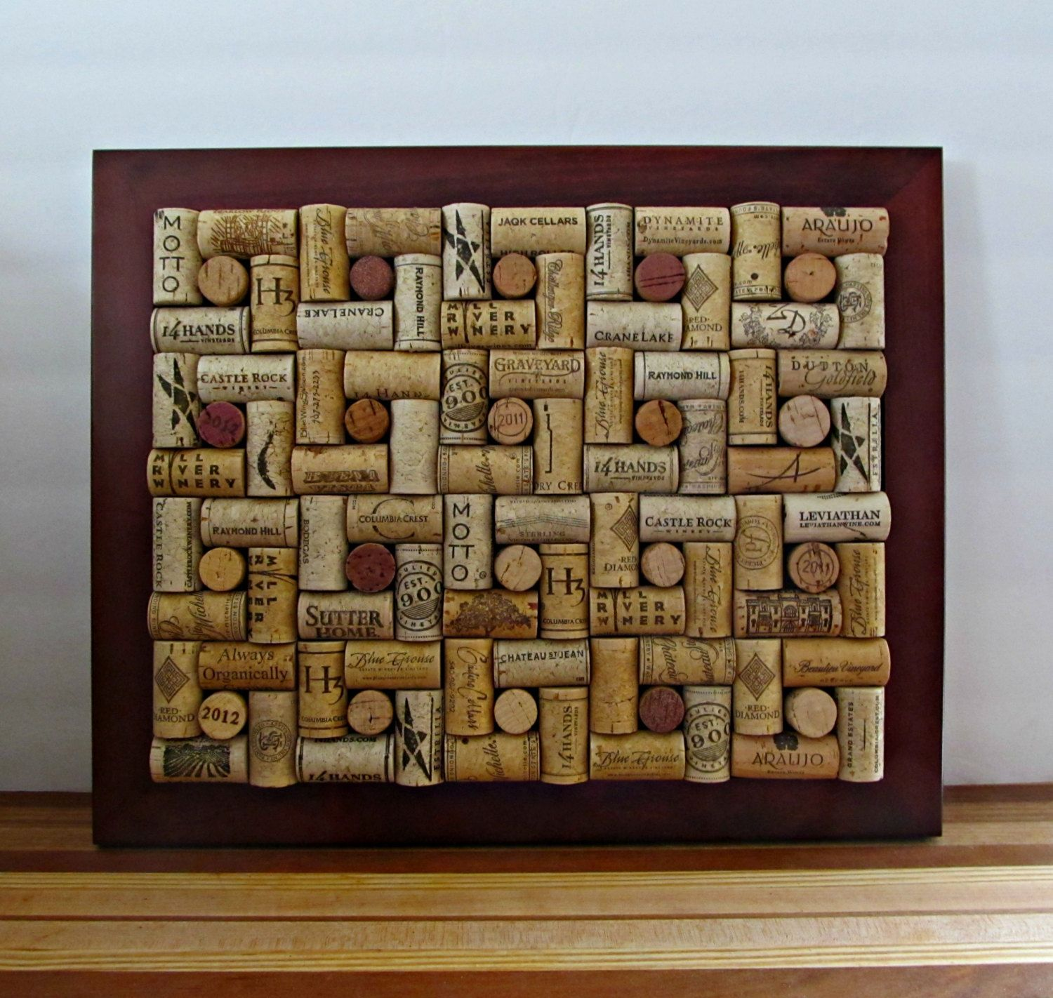 Wine Cork Board With Brown Frame Kitchen By Lizziejoedesigns