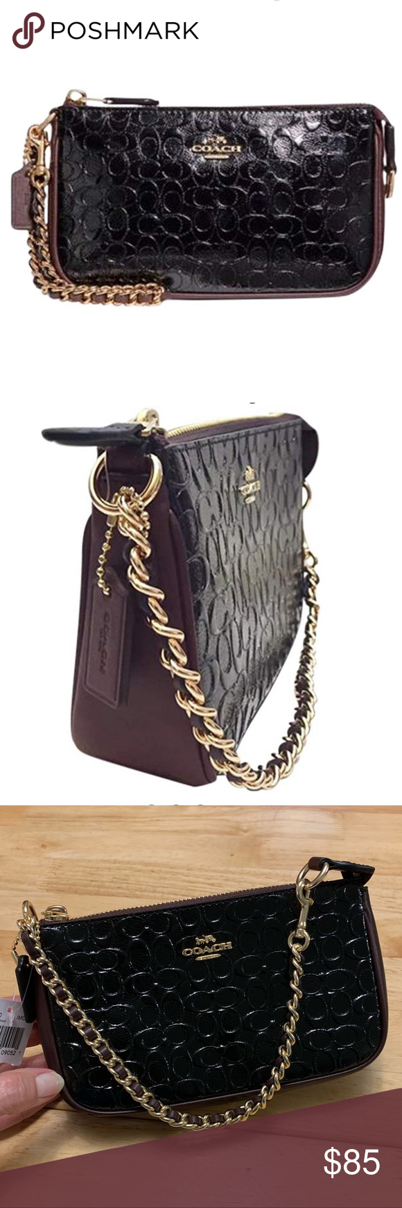 0926395ba09 Coach Wristlet Coach Signature Patent Leather Large Wristlet in black oxblood  color with a gold