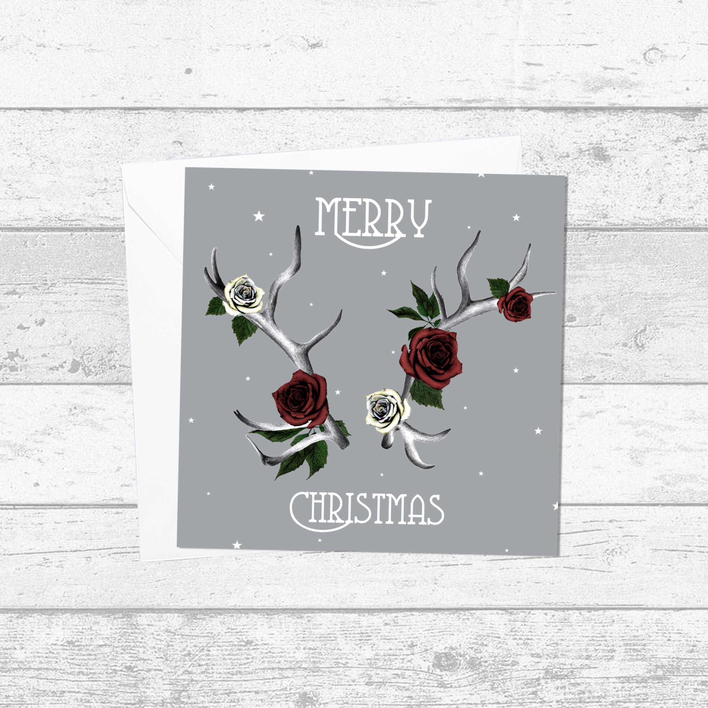 Antler And Red Rose Christmas Card Merry Christmas Grey Art Deco