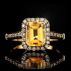 LeVian Emerald Cut Citrine Ring with Chocolate Diamond Bezel