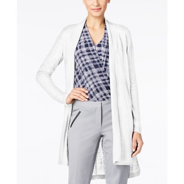 Alfani Long Linen Cardigan, ($90) ❤ liked on Polyvore featuring tops, cardigans, bright white, double layer top, lightweight long cardigan, long length tops, long cardi and long linen cardigan