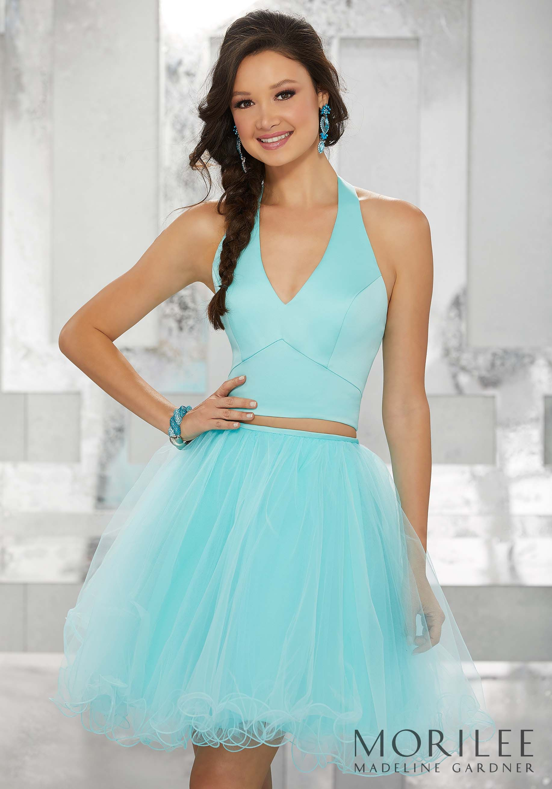 Aqua Blue Two Piece Party Dress with Satin Halter Bodice and Tulle ...
