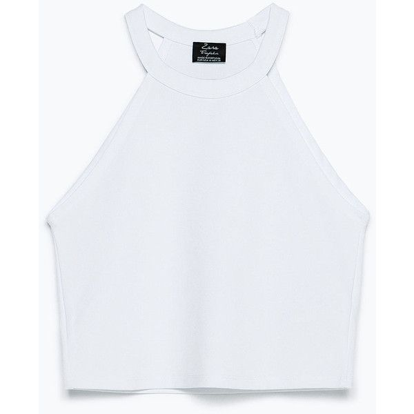 d9d689934f920c Zara Knitted Top ($13) ❤ liked on Polyvore featuring tops, crop tops,  tanks, shirts, white, white tops, white crop top, white tank, shirts & tops  and crop ...