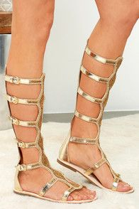 7ffc179d2d70 The Rebels Velocity Gold Leather Tall Beaded Gladiator Sandals are fit for  a Bohemian Queen