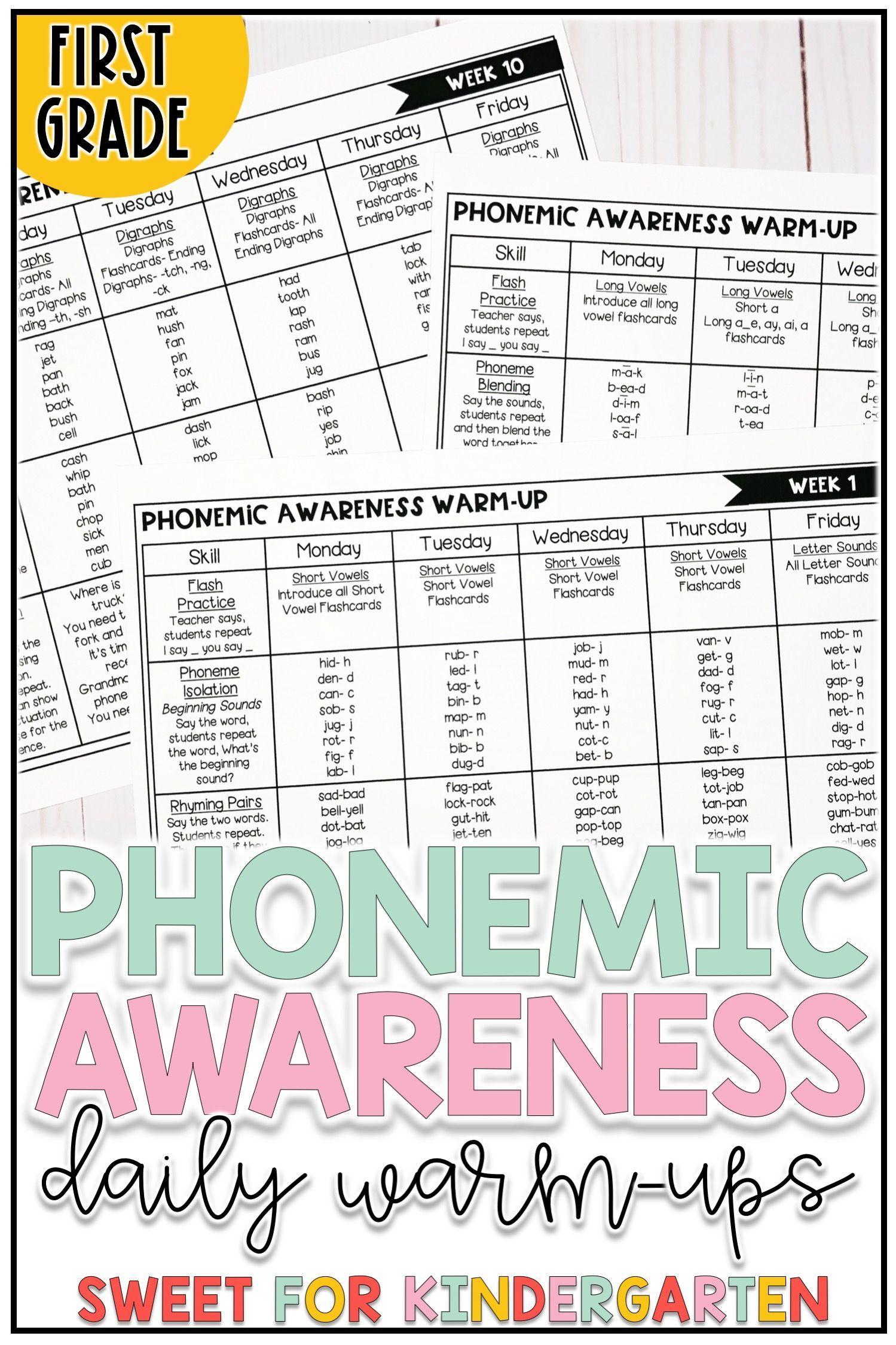 First Grade Phonemic Awareness Daily Warm Ups