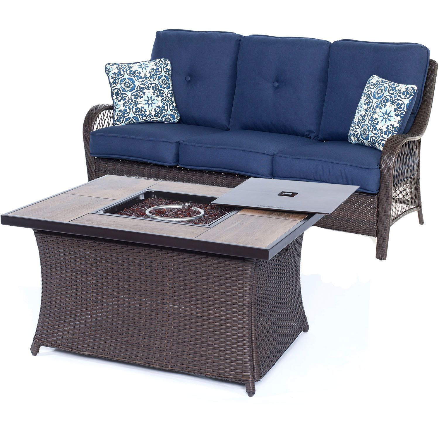 Orleans2pc FP Seating Set Sofa Fire Pit Coffee Table w Wood