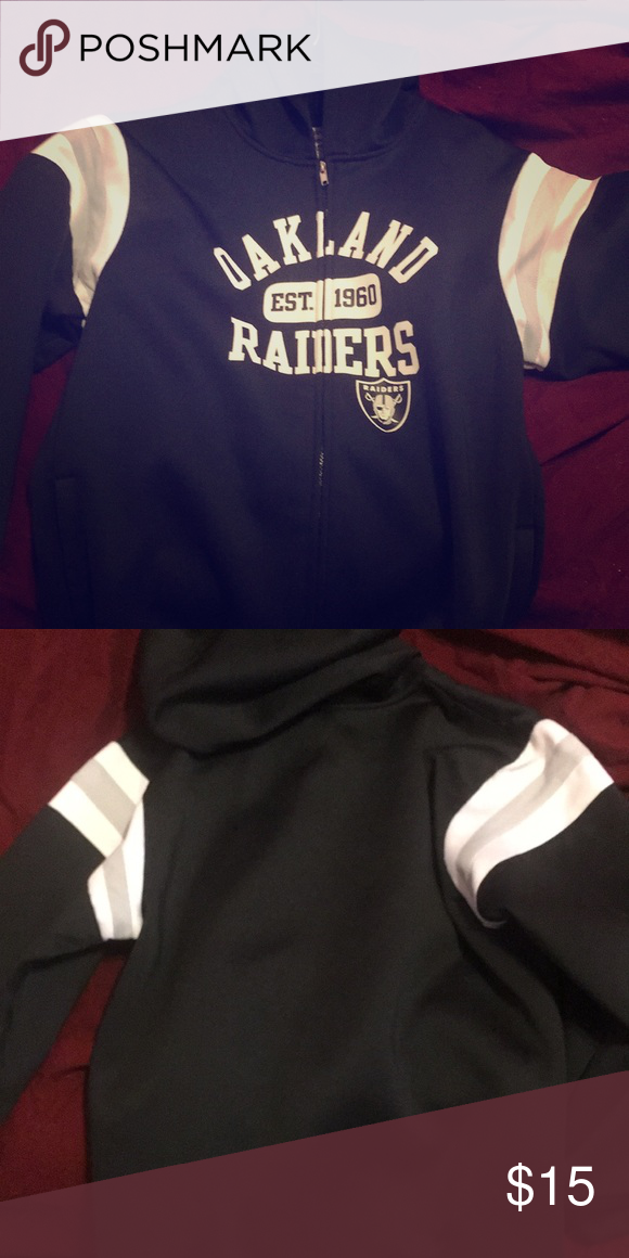 official photos b6f7d 006b2 Raiders Sweater zip up Black raiders sweater youth xxl, in ...