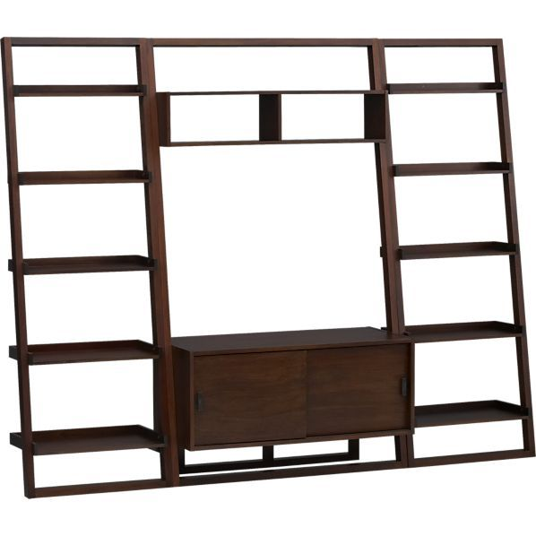 Sloane Java 43 75 Leaning Media Stand With Two 25 5 Bookcases In Media Centers Crate