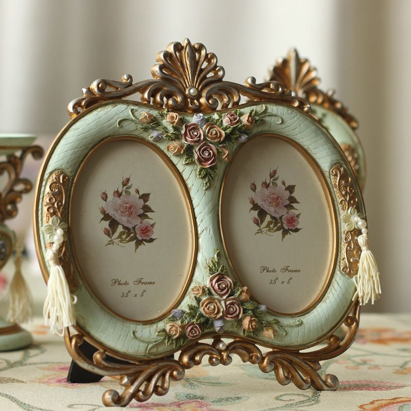 Fashion vintage retro rustic finishing resin green double 5 photo ...