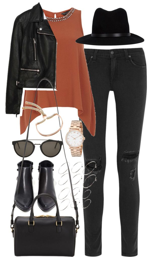 Outfit for an autumn date by ferned featuring silver ringsDorothy Perkins top, 53 AUD / Zara black jacket, 130 AUD / Rag & bone black skinny jeans, 410 AUD / Grey City black leather boots / Saint Laurent 3 Hour Duffel, 1 690 AUD / Marc by Marc Jacobs watch, 305 AUD / Monica Vinader rose gold bracelet, 260 AUD / ASOS silver ring / RetroSuperFuture sunglasses, 400 AUD / Rag bone black hat, 245 AUD