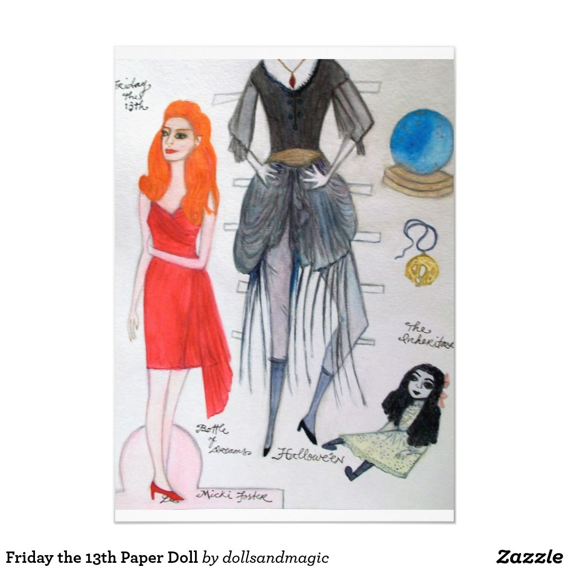 Friday The 13th Paper Doll Invitation