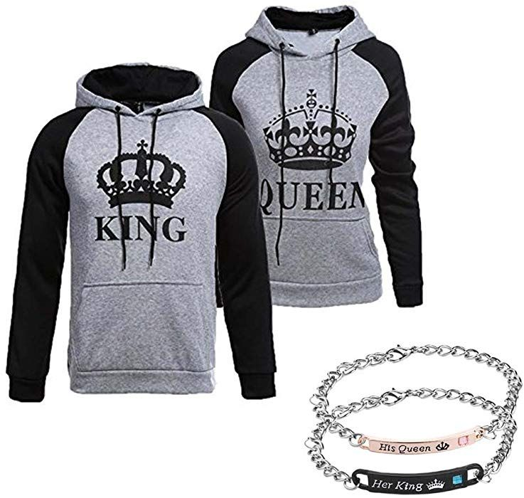 fashion styles best authentic best selling Amazon.com: YJQ King Queen Matching Couple Pullover Hoodie ...